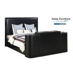Miles Black Queen Bed with TV Lift